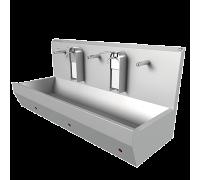 Раковина EWG-2К настенная на 2 поста с механическим включением, нерж. сталь, общая чаша