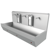 Раковина EWG-3S настенная на 3 поста с сенсерным включением, нерж. сталь, общая чаша