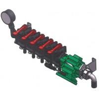 Блок ручных клапанов NRG001: 5V 13-25-25+манометр+электромагнитный расходомер Tecomec