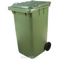 Зеленый мусорный бак на колесах Tara MKT (240 литров)